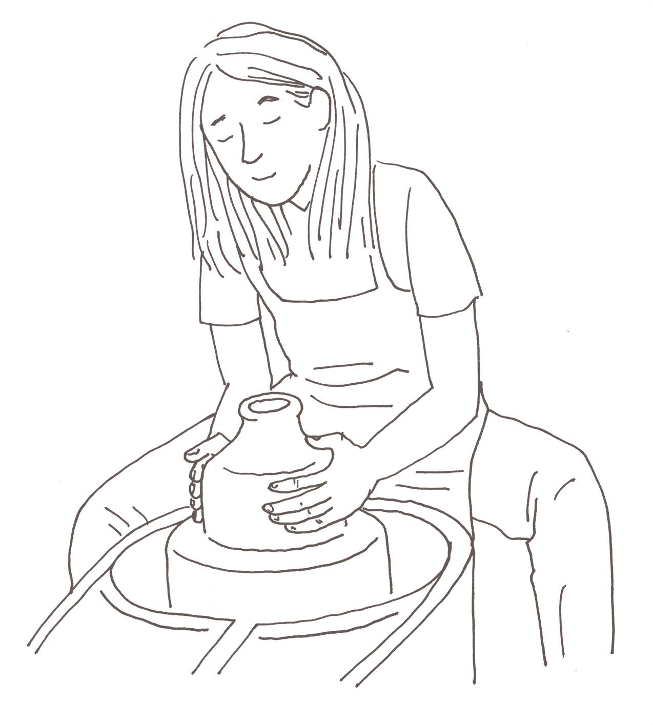 woman doing pottery in sketch